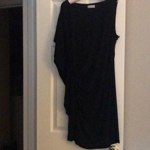 Calvin Klein asymmetrical shoulder black dress